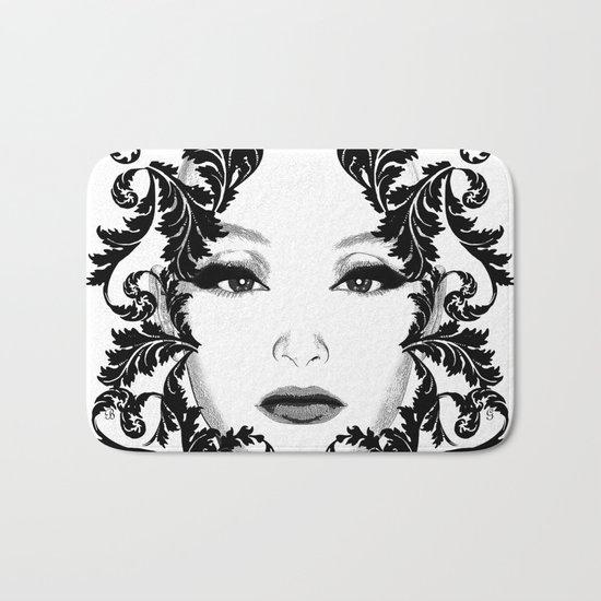 Black and white floral face ornament Bath Mat