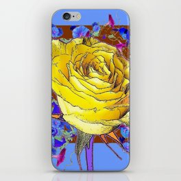 GRAPHIC YELLOW ROSE BLUE FLOWERS BROWN ART iPhone Skin