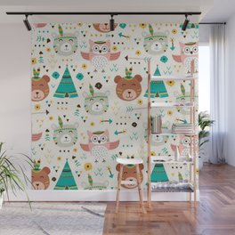Boho Forest , Woodland Critters Wall Mural