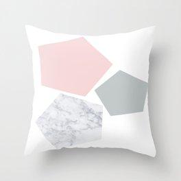 Blush, gray & marble geo Throw Pillow