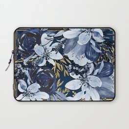 Navy Blue & Gold Watercolor Floral Laptop Sleeve