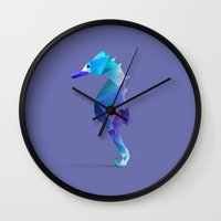 seahorse Wall Clocks featuring Seahorse. by Diana D'Achille