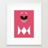 power ranger Framed Art Prints featuring Power Rangers - Pink Ranger Minimalist by TracingHorses