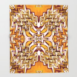 Fiery Orange and Cream Spiral Bends Throw Blanket