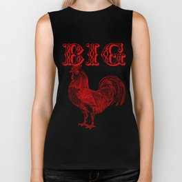Big Red Rooster Humorous Print Biker Tank