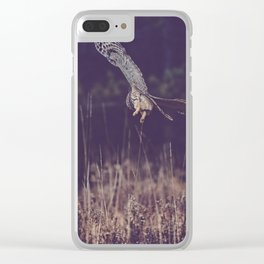 Barred Owl Hunting Clear iPhone Case