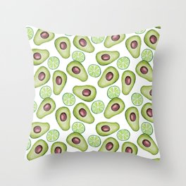 Avocado and lime watercolor summer pattern Throw Pillow