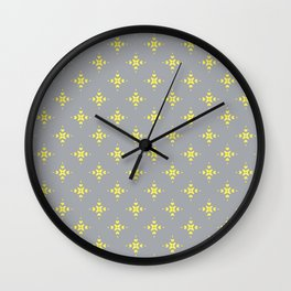Ornamental Pattern with Grey and Lemon Yellow Colourway Wall Clock