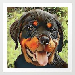 Chubby Rottweiler Puppy Art Print