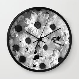 Daisy Chaos in Black and White Wall Clock