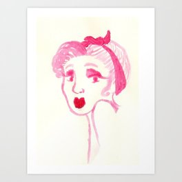 Rockabilly Pink Art Print