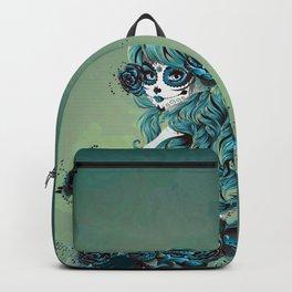 Sugar skull girl in blue Backpack