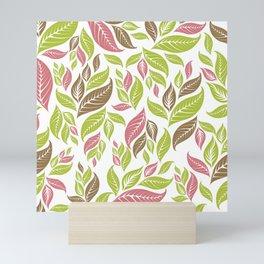 Retro Vintage Inspired Leaf Print in Modern Pink Green Brown Mini Art Print