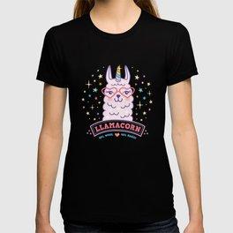 llama unicorn llamacorn pink alpaca gift T-shirt