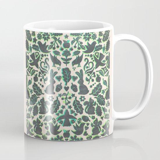 Two Rabbits - folk art pattern in grey, lime green & mint Mug