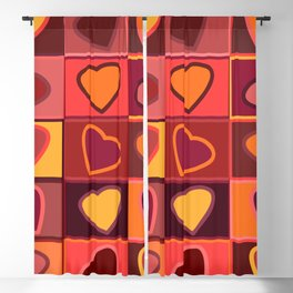 Hearts in squares print in pink, purple and yellow Blackout Curtain