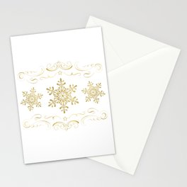Ornate Golden Snowflakes Stationery Cards