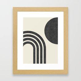 Mid century modern - Sun & Rainbow black Framed Art Print