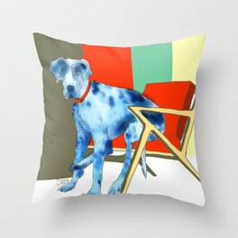 Great Dane in Chair #1 Throw Pillow