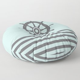 AFE Pale Turquoise and Brown Helm Wheel Floor Pillow