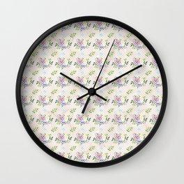 Roses & Forget Me Nots Polka Dots Yellow Wall Clock