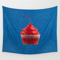 mandie manzano Wall Tapestries featuring Cupcake Love | Red on Blue Sparkle by Mandie Marie
