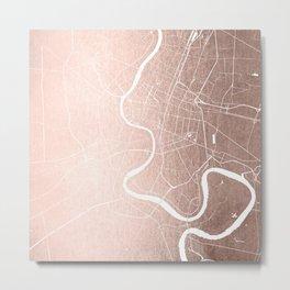 Bangkok Thailand Minimal Street Map - Rose Gold Pink and White II Metal Print