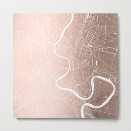 Bangkok Thailand Minimal Street Map - Rose Gold Pink and White II Metal Print