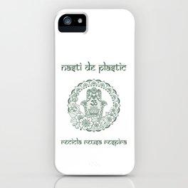 nasti de plastic green yoga in white iPhone Case