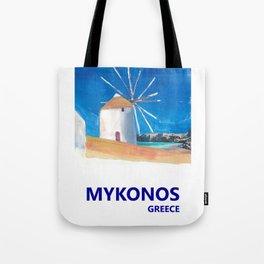 Mykonos Greece Windmill, Sea and Little Venice Travel Retro Poster Tote Bag