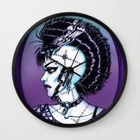 punk rock Wall Clocks featuring Punk Rock Girl by Eeriette