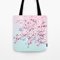 cherry blossoms Tote Bags featuring Cherry Blossoms by Nina Baydur