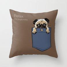Pugturday  Throw Pillow
