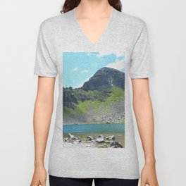 Mountain Stream Alpine landscape Unisex V-Neck