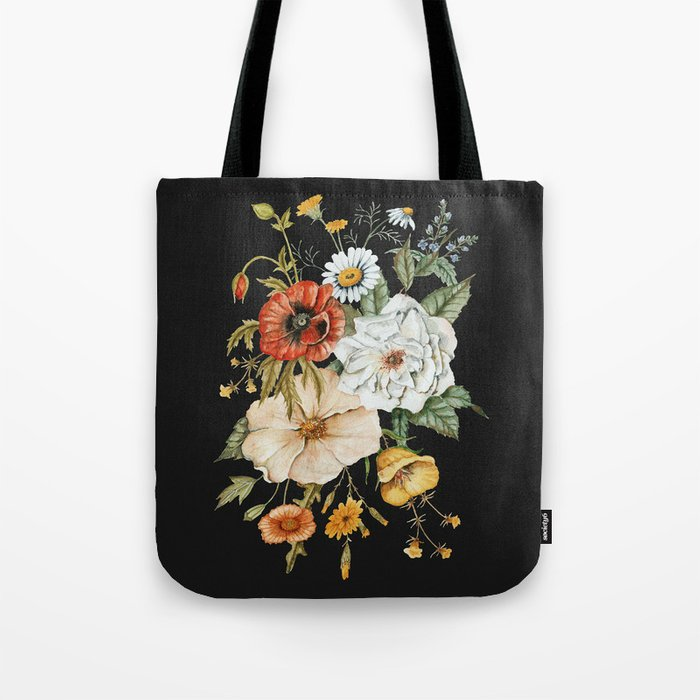 Wildflower Bouquet on Charcoal Tote Bag