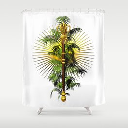 growing power, royal scepter with palm tree in front of aureole Shower Curtain