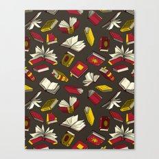 Spellbooks, maroon Canvas Print