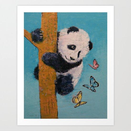 Panda Butterflies Art Print