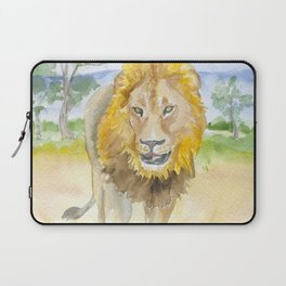 Lion in Africa Watercolor Laptop Sleeve