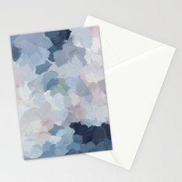 Navy Indigo Gray Blue Blush Pink Lavender Abstract Floral Spring Wall Art Stationery Cards