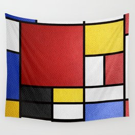 Mondrian in a Leather-Style Wall Tapestry