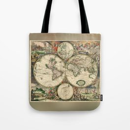 Old map of world hemispheres. Created by Frederick De Wit, 1668 Tote Bag