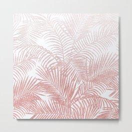 Elegant faux rose gold gradient glitter tropical plants pattern Metal Print