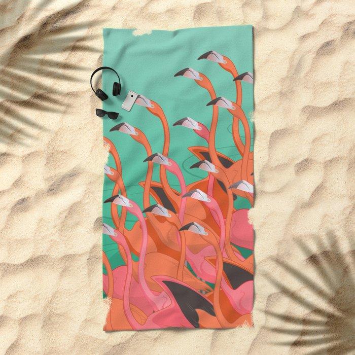 Fresco of the flamingoes. Beach Towel