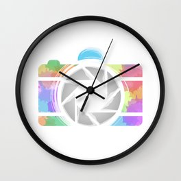 Watercolor Photography camera- Rainbow colored photography lover Wall Clock