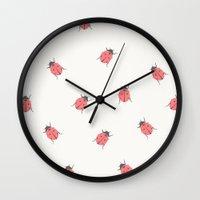 ladybug Wall Clocks featuring ladybug by Georgiana Paraschiv