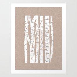 Woodcut Birches Art Print