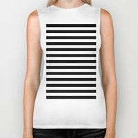 stripes Biker Tanks featuring Horizontal Stripes (Black/White) by 10813 Apparel