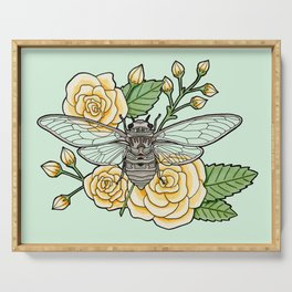 Cicada with Roses - Mint Serving Tray