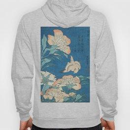 Japanese Flowers Turquoise Peach Hoody
